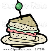 Pal Clipart of a Cartoon Sandwich by Lineartestpilot