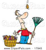 Pal Clipart of a Cartoon White Man Raking Leaves, Watching yet Another Fall by Toonaday