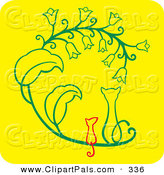 Pal Clipart of a Cat and Mouse Sitting Side by Side and Watching Flowers on Yellow by Cherie Reve