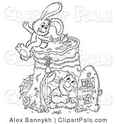 Pal Clipart of a Cat and Rabbit Hanging out by a Pail by Alex Bannykh