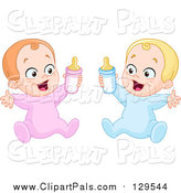 May 14th, 2016: Pal Clipart of a Caucasian Baby Boy and Girl Holding up Bottles by Yayayoyo