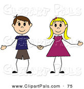 Pal Clipart of a Caucasian Stick Boy and Girl Holding Hands by Pams Clipart