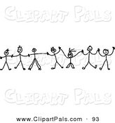 Pal Clipart of a Chain of Black and White Kids Holding Hands on White by Prawny