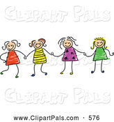 Pal Clipart of a Cheerful Childs Sketch of Four Girls Holding Hands by Prawny