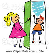 Pal Clipart of a Cheerful Girl Opening a Door to a Boy by Prawny