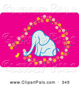 Pal Clipart of a Chick and Elephant Picking Flowers on Pink by Cherie Reve