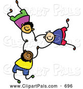 Pal Clipart of a Childs Sketch of 3 Boys Falling and Holding Hands by Prawny