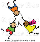 Pal Clipart of a Childs Sketch of 3 Kids Holding Hands While Falling by Prawny