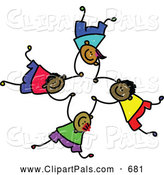 Pal Clipart of a Childs Sketch of 4 Boys Falling and Holding Hands by Prawny