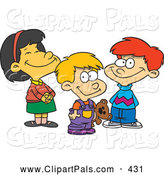 Pal Clipart of a Child's Sketch of a Cartoon Colored Picture of a Girl and Two Boys by Toonaday