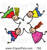 September 2nd, 2013: Pal Clipart of a Childs Sketch of a Group of Four Kids Holding Hands While Falling by Prawny