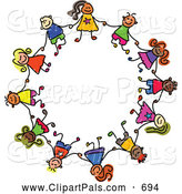 Pal Clipart of a Childs Sketch of a Ring of Boys and Girls in a Circle, Holding Hands by Prawny