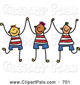 September 1st, 2013: Pal Clipart of a Childs Sketch of a Trio of Boys Holding up Their Hands by Prawny