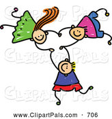 Pal Clipart of a Childs Sketch of a Trio of Kids Holding Hands While Falling down by Prawny