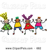 Pal Clipart of a Childs Sketch of Boys and Girls Holding Hands in a Row by Prawny