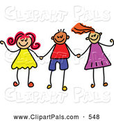 Pal Clipart of a Childs Sketch of Boys and Girls Holding Hands Together by Prawny