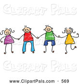 July 24th, 2013: Pal Clipart of a Childs Sketch of Boys and Girls Holding Hands Together by Prawny