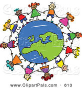 Pal Clipart of a Childs Sketch of Children Holding Hands Around a Blue European Globe by Prawny