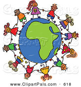 Pal Clipart of a Childs Sketch of Children Holding Hands Around an African Globe over White by Prawny