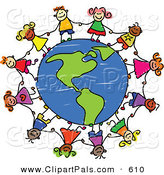 June 4th, 2013: Pal Clipart of a Childs Sketch of Children Holding Hands Around an American Globe on White by Prawny