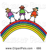 Pal Clipart of a Childs Sketch of Cute Boys Holding Hands on a Rainbow by Prawny