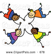 Pal Clipart of a Childs Sketch of Four Boys Falling and Holding Hands in a Circle by Prawny