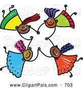 Pal Clipart of a Childs Sketch of Four Friendly Kids Holding Hands While Falling by Prawny
