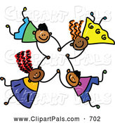 Pal Clipart of a Childs Sketch of Four Grinning Kids Holding Hands While Falling by Prawny