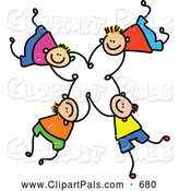 Pal Clipart of a Childs Sketch of Four Happy Boys Falling and Holding Hands by Prawny