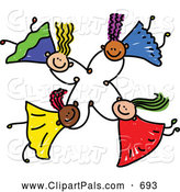 September 4th, 2013: Pal Clipart of a Childs Sketch of Four Kids Holding Hands While Playing Together by Prawny