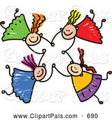 Pal Clipart of a Childs Sketch of Four Smiling Kids Holding Hands While Falling by Prawny