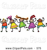 Pal Clipart of a Childs Sketch of Happy Boys and Girls Holding Hands by Prawny