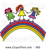 Pal Clipart of a Childs Sketch of Happy Girls Holding Hands on a Rainbow by Prawny