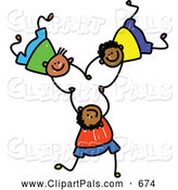 Pal Clipart of a Childs Sketch of Three Boys Playing Together by Prawny