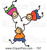 Pal Clipart of a Childs Sketch of Three Cheerful Boys Falling and Holding Hands by Prawny