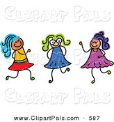 Pal Clipart of a Childs Sketch of Three Colorful Girls Playing Together by Prawny