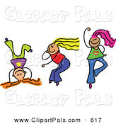 Pal Clipart of a Childs Sketch of Three Girls Playing Dance Together by Prawny