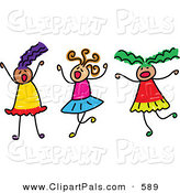 Pal Clipart of a Childs Sketch of Three Girls Playing Together at a Sleepover by Prawny