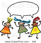 Pal Clipart of a Childs Sketch of Three Girls with a Word Balloon Overhead by Prawny