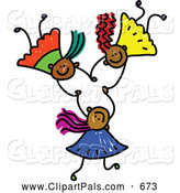 Pal Clipart of a Childs Sketch of Three Grinning Kids Holding Hands While Falling by Prawny