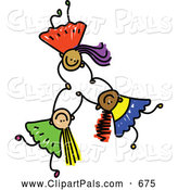 August 17th, 2013: Pal Clipart of a Childs Sketch of Three Happy Kids Holding Hands While Falling by Prawny