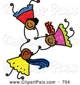 Pal Clipart of a Childs Sketch of Three Happy Kids Holding Hands While Falling by Prawny