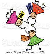 August 22nd, 2013: Pal Clipart of a Childs Sketch of Three Kids Holding Hands While Falling by Prawny
