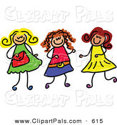 June 10th, 2013: Pal Clipart of a Childs Sketch of Three Small Girls Playing Together by Prawny
