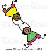Pal Clipart of a Childs Sketch of Two Boys Falling and Holding Hands on White by Prawny