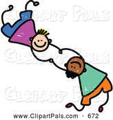 August 14th, 2013: Pal Clipart of a Childs Sketch of Two Boys Playing Together and Holding Hands by Prawny