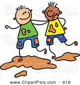 June 11th, 2013: Pal Clipart of a Childs Sketch of Two Boys Playing Together in Mud by Prawny