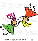 Pal Clipart of a Childs Sketch of Two Girls Holding Hands and Playing Together by Prawny
