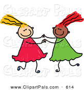 Pal Clipart of a Childs Sketch of Two Girls Playing Together, on White by Prawny