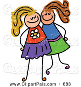 August 5th, 2013: Pal Clipart of a Childs Sketch of Two Grinning Girls Posing Together by Prawny